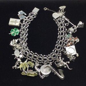 Vtg. Estate Loaded Sterling Silver Charm Bracelet